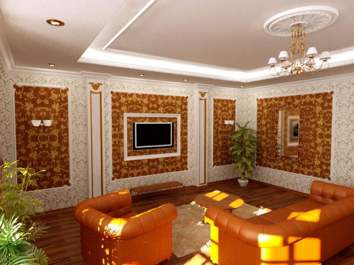 Ремонт гостиной частного дома
